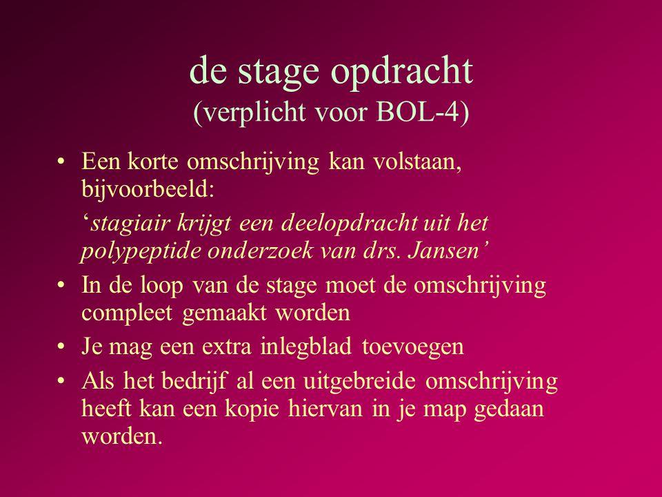 de stage opdracht (verplicht voor BOL-4) •Een korte omschrijving kan volstaan, bijvoorbeeld: 'stagiair krijgt een deelopdracht uit het polypeptide onderzoek van drs.