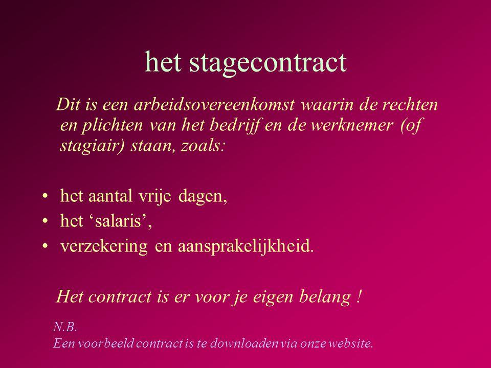 het stagecontract Dit is een arbeidsovereenkomst waarin de rechten en plichten van het bedrijf en de werknemer (of stagiair) staan, zoals: •het aantal vrije dagen, •het 'salaris', •verzekering en aansprakelijkheid.