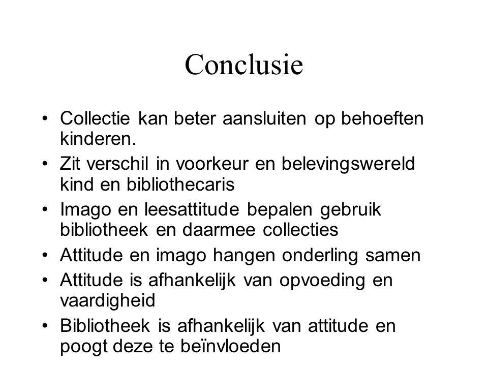 Conclusie •Collectie kan beter aansluiten op behoeften kinderen. •Zit verschil in voorkeur en belevingswereld kind en bibliothecaris •Imago en leesatt