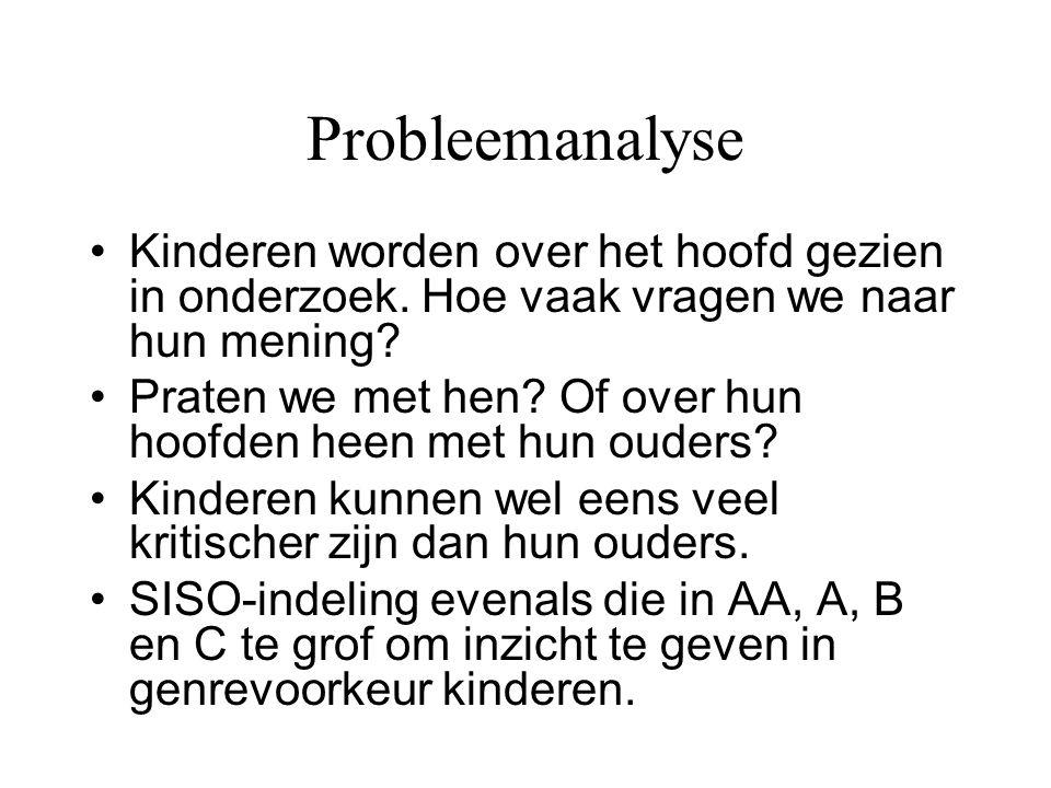 Probleemanalyse •Kinderen worden over het hoofd gezien in onderzoek. Hoe vaak vragen we naar hun mening? •Praten we met hen? Of over hun hoofden heen
