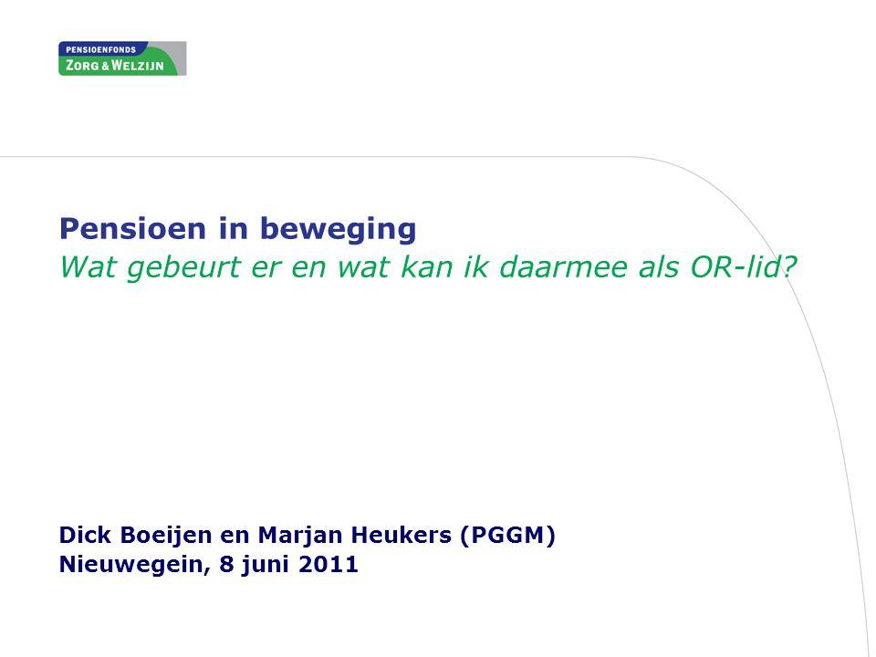 Pensioen in beweging Wat gebeurt er en wat kan ik daarmee als OR-lid? Dick Boeijen en Marjan Heukers (PGGM) Nieuwegein, 8 juni 2011