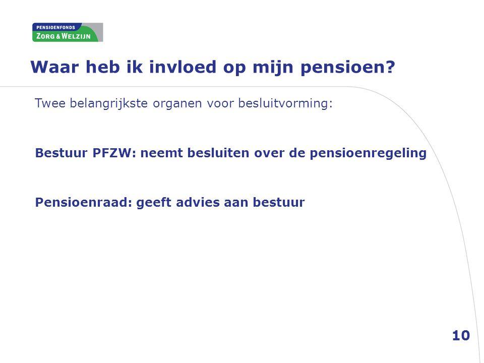 Waar heb ik invloed op mijn pensioen? Twee belangrijkste organen voor besluitvorming: Bestuur PFZW: neemt besluiten over de pensioenregeling Pensioenr