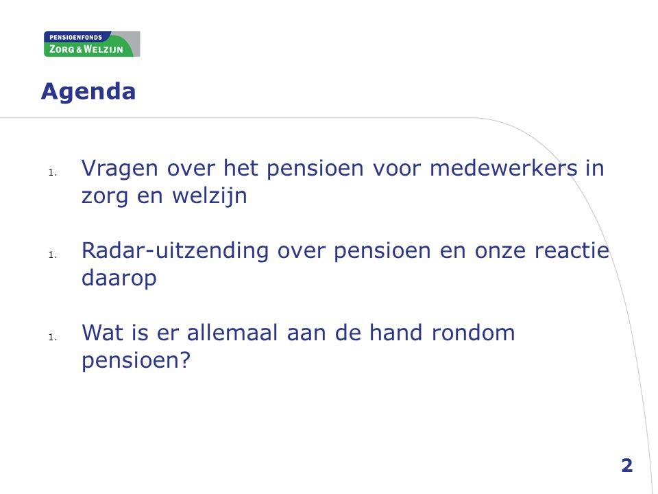 Agenda 1. Vragen over het pensioen voor medewerkers in zorg en welzijn 1. Radar-uitzending over pensioen en onze reactie daarop 1. Wat is er allemaal