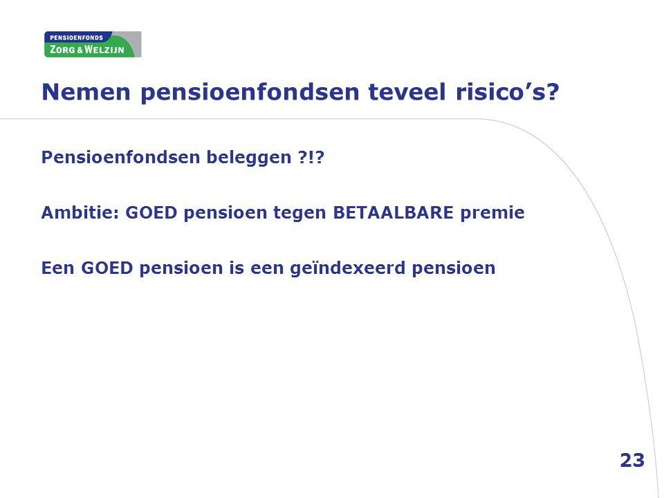 Nemen pensioenfondsen teveel risico's? 23 Pensioenfondsen beleggen ?!? Ambitie: GOED pensioen tegen BETAALBARE premie Een GOED pensioen is een geïndex
