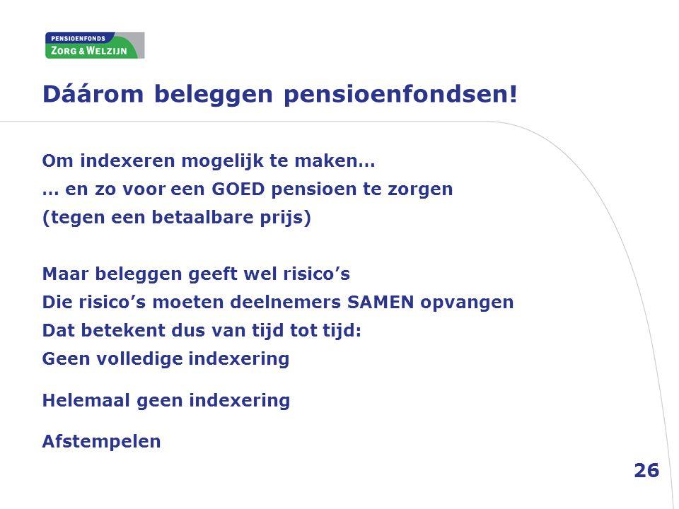 Dáárom beleggen pensioenfondsen! 26 Om indexeren mogelijk te maken… … en zo voor een GOED pensioen te zorgen (tegen een betaalbare prijs) Maar belegge