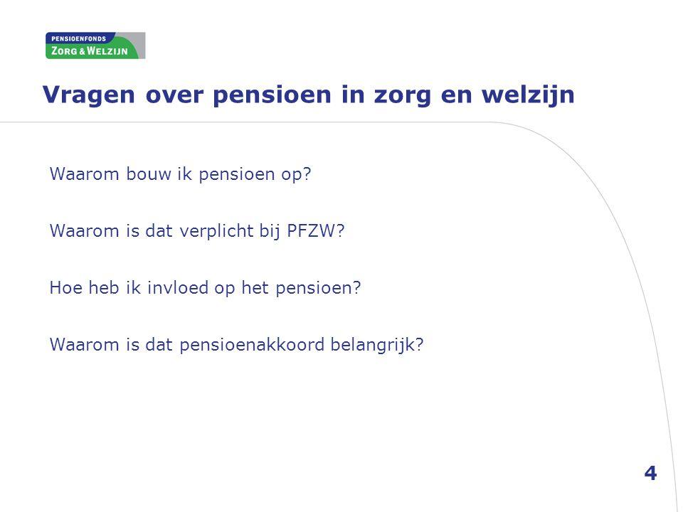 Vragen over pensioen in zorg en welzijn Waarom bouw ik pensioen op? Waarom is dat verplicht bij PFZW? Hoe heb ik invloed op het pensioen? Waarom is da