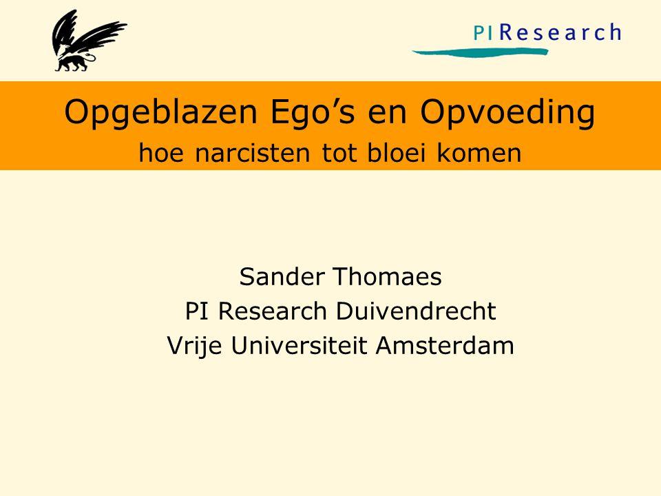 Opgeblazen Ego's en Opvoeding hoe narcisten tot bloei komen Sander Thomaes PI Research Duivendrecht Vrije Universiteit Amsterdam