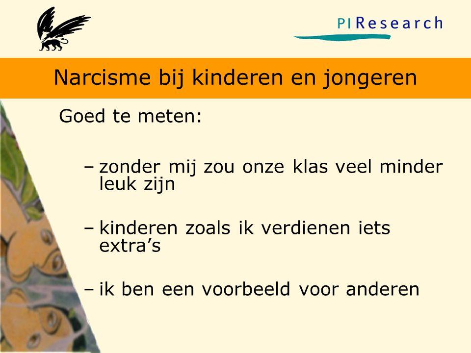 Narcisme bij kinderen en jongeren Goed te meten: –zonder mij zou onze klas veel minder leuk zijn –kinderen zoals ik verdienen iets extra's –ik ben een