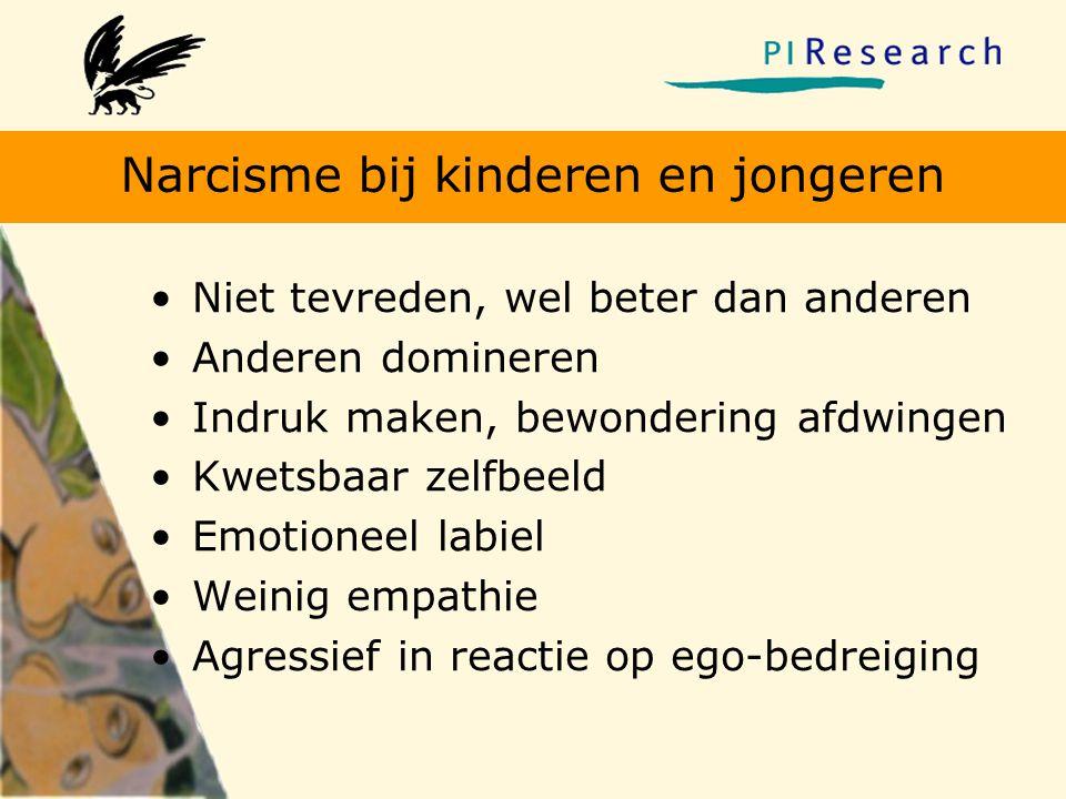 Narcisme bij kinderen en jongeren •Niet tevreden, wel beter dan anderen •Anderen domineren •Indruk maken, bewondering afdwingen •Kwetsbaar zelfbeeld •