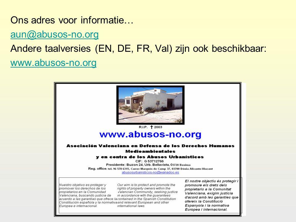 Ons adres voor informatie… aun@abusos-no.org Andere taalversies (EN, DE, FR, Val) zijn ook beschikbaar: www.abusos-no.org