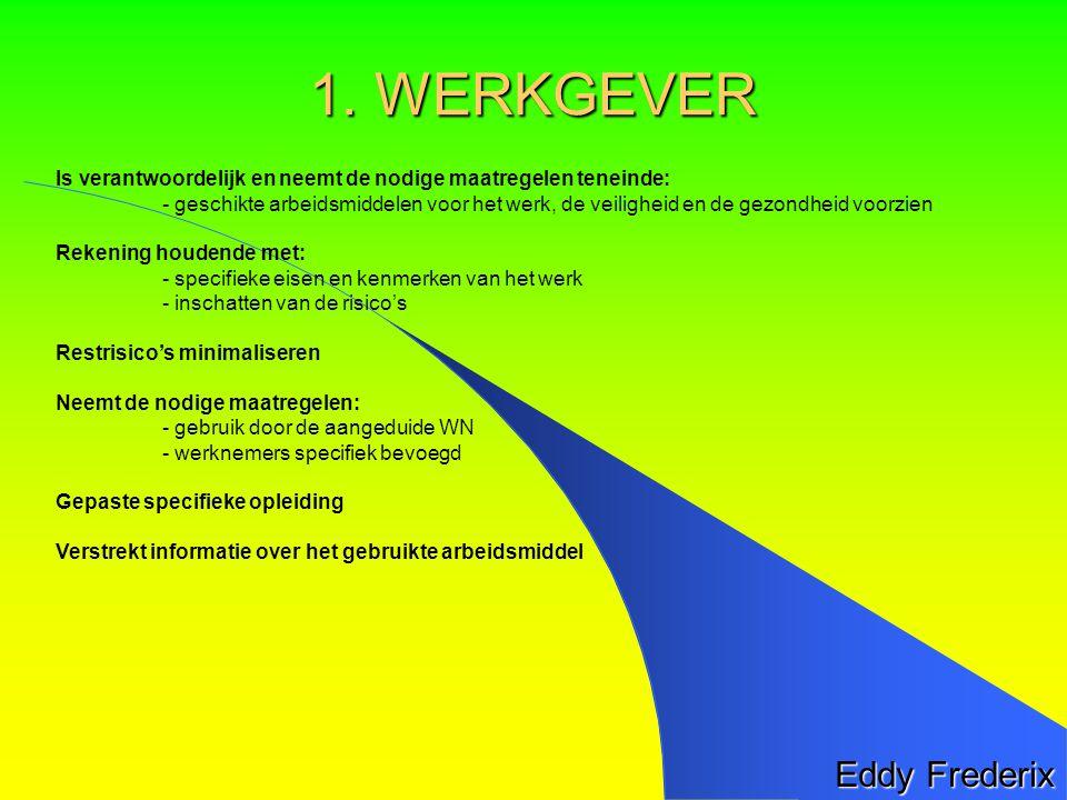 Eddy Frederix Is verantwoordelijk en neemt de nodige maatregelen teneinde: - geschikte arbeidsmiddelen voor het werk, de veiligheid en de gezondheid voorzien Rekening houdende met: - specifieke eisen en kenmerken van het werk - inschatten van de risico's Restrisico's minimaliseren Neemt de nodige maatregelen: - gebruik door de aangeduide WN - werknemers specifiek bevoegd Gepaste specifieke opleiding Verstrekt informatie over het gebruikte arbeidsmiddel 1.