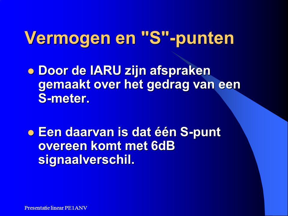 Presentatie linear PE1ANV Vermogen en S -punten  Het inschakelen van een 400 Watt linear zal dus bij het tegenstation één S-punt verbetering geven t.o.v.