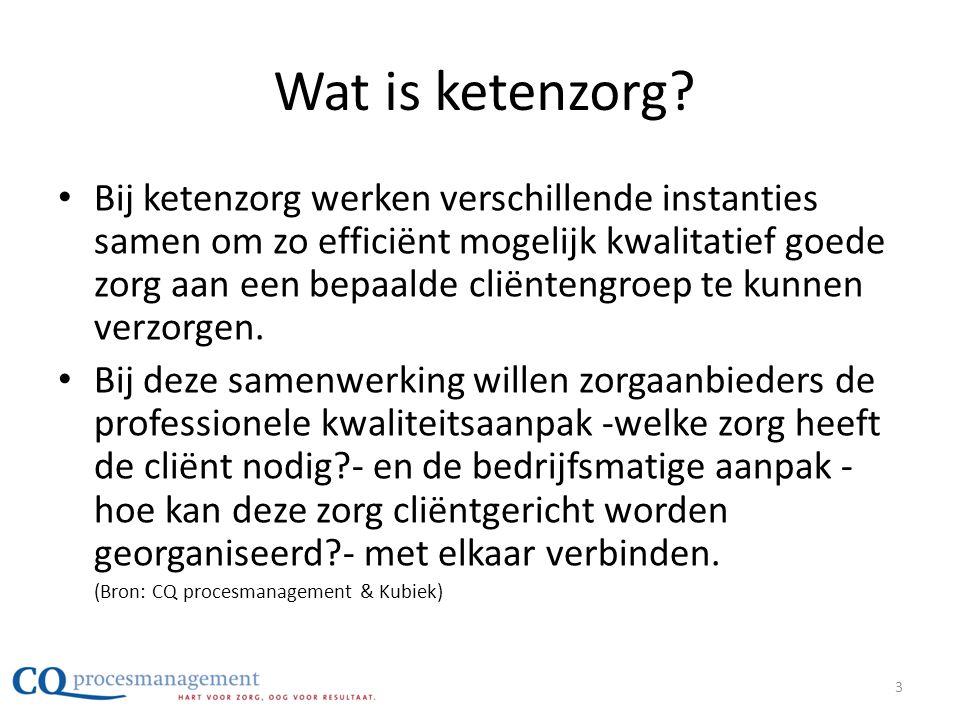 Wat is ketenzorg? • Bij ketenzorg werken verschillende instanties samen om zo efficiënt mogelijk kwalitatief goede zorg aan een bepaalde cliëntengroep