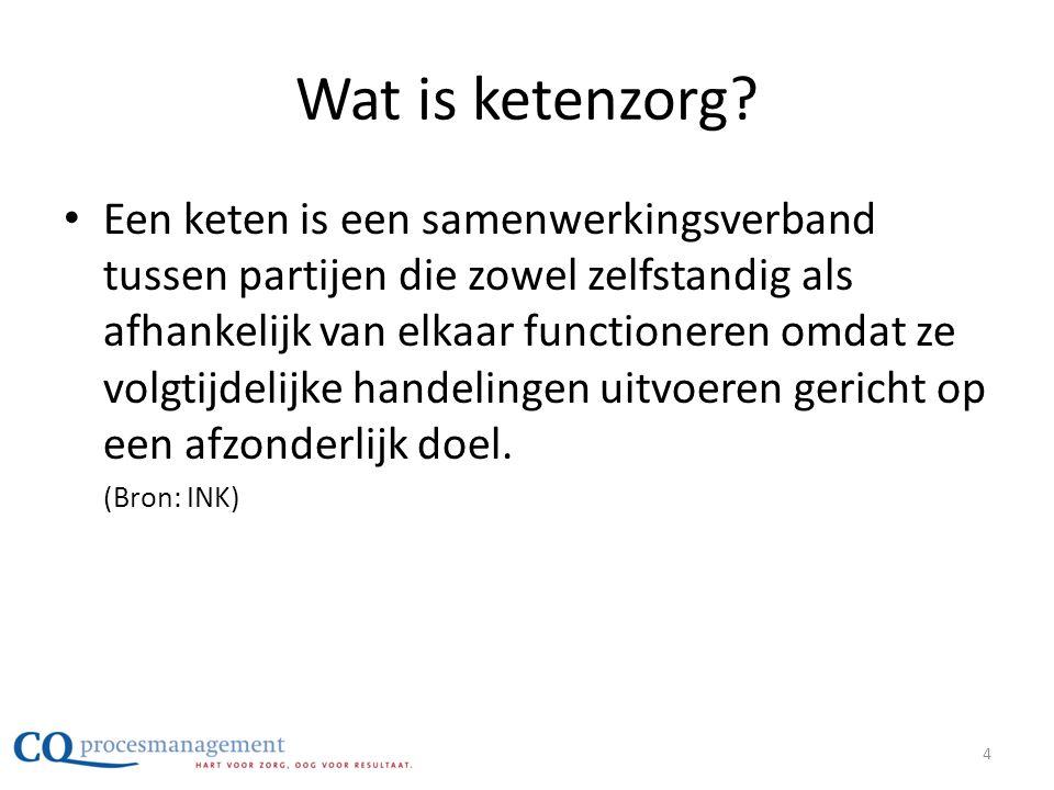 Wat is ketenzorg? • Een keten is een samenwerkingsverband tussen partijen die zowel zelfstandig als afhankelijk van elkaar functioneren omdat ze volgt