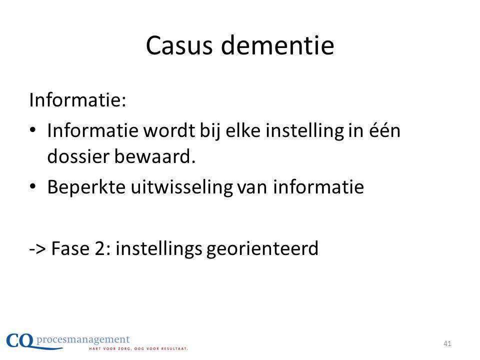 Casus dementie Informatie: • Informatie wordt bij elke instelling in één dossier bewaard. • Beperkte uitwisseling van informatie -> Fase 2: instelling