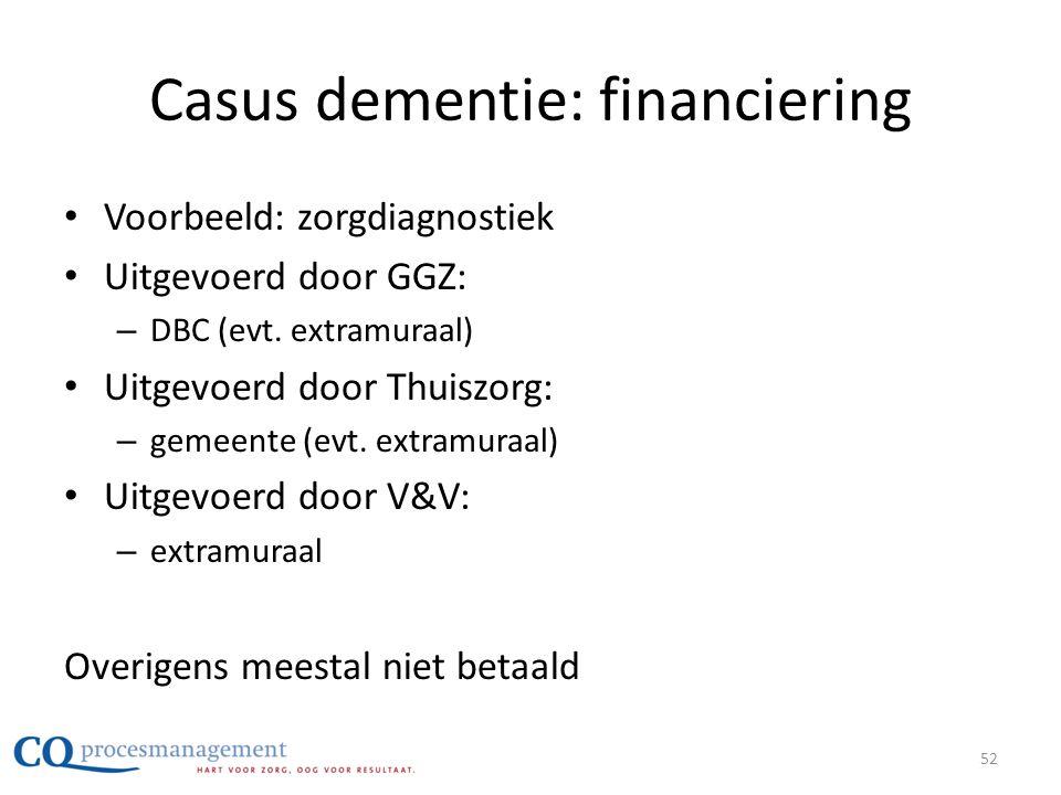 Casus dementie: financiering • Voorbeeld: zorgdiagnostiek • Uitgevoerd door GGZ: – DBC (evt. extramuraal) • Uitgevoerd door Thuiszorg: – gemeente (evt