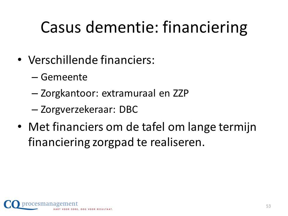 Casus dementie: financiering • Verschillende financiers: – Gemeente – Zorgkantoor: extramuraal en ZZP – Zorgverzekeraar: DBC • Met financiers om de ta