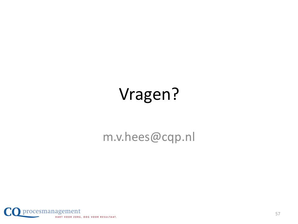 Vragen? m.v.hees@cqp.nl 57