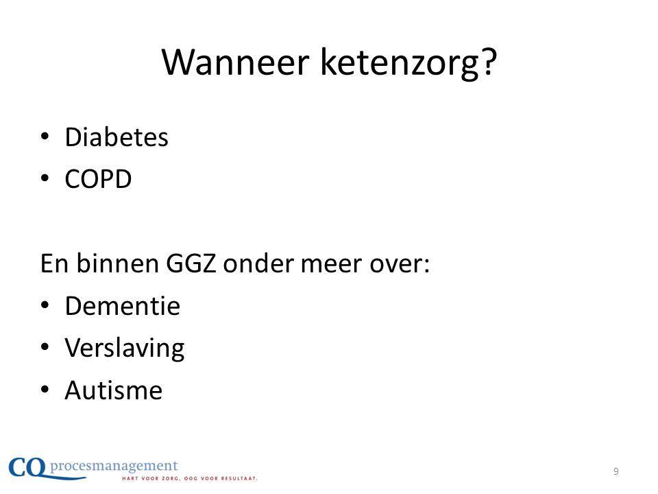 Wanneer ketenzorg? • Diabetes • COPD En binnen GGZ onder meer over: • Dementie • Verslaving • Autisme 9