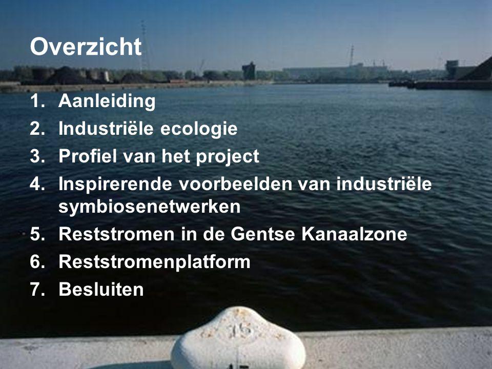Overzicht 1.Aanleiding 2.Industriële ecologie 3.Profiel van het project 4.Inspirerende voorbeelden van industriële symbiosenetwerken 5.Reststromen in de Gentse Kanaalzone 6.Reststromenplatform 7.Besluiten