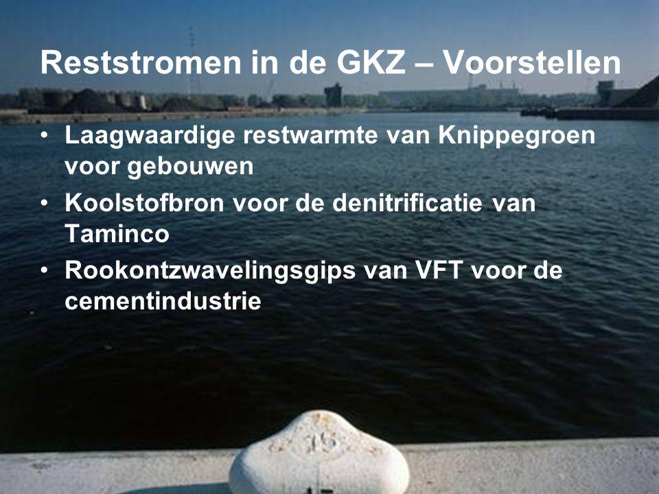 Reststromen in de GKZ – Voorstellen •Laagwaardige restwarmte van Knippegroen voor gebouwen •Koolstofbron voor de denitrificatie van Taminco •Rookontzwavelingsgips van VFT voor de cementindustrie