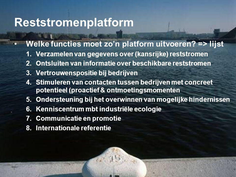 Reststromenplatform •Welke functies moet zo'n platform uitvoeren.