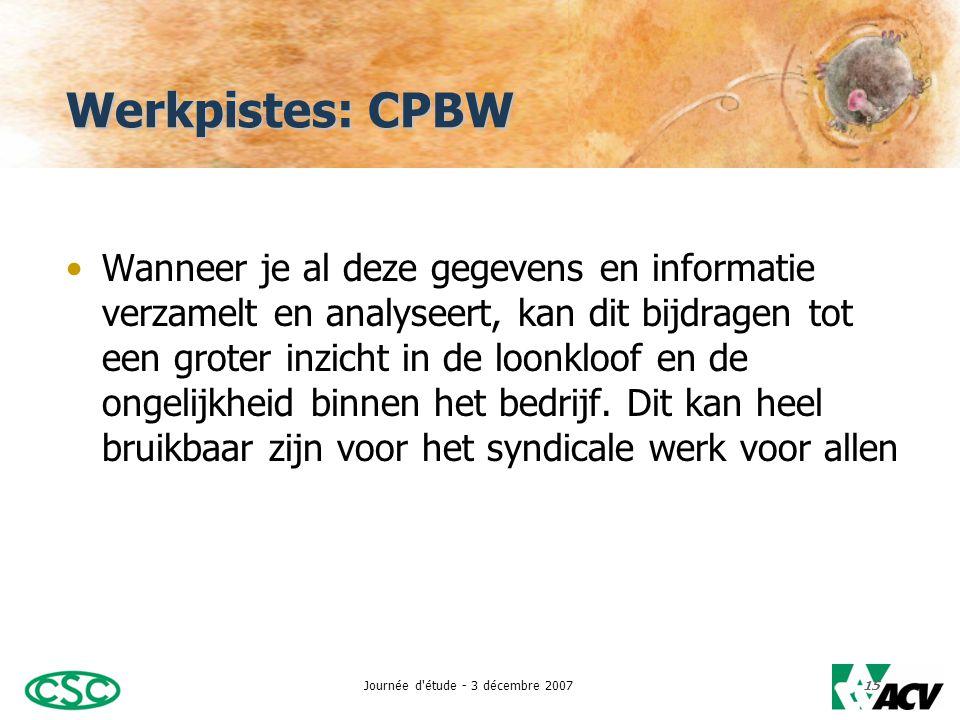 Journée d étude - 3 décembre 200715 Werkpistes: CPBW •Wanneer je al deze gegevens en informatie verzamelt en analyseert, kan dit bijdragen tot een groter inzicht in de loonkloof en de ongelijkheid binnen het bedrijf.
