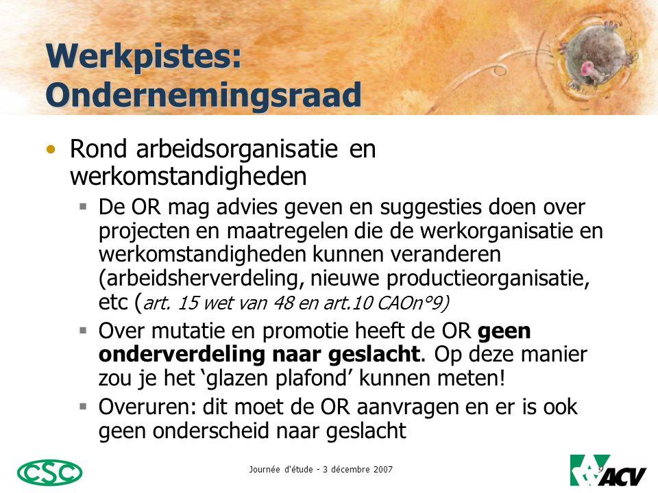 Journée d étude - 3 décembre 200710 Werkpistes: Ondernemingsraad •Over het personeelsbeleid:  De OR kan informatie vragen over regels die gelden voor aanwerving, mutatie, promotie, onthaal, etc.