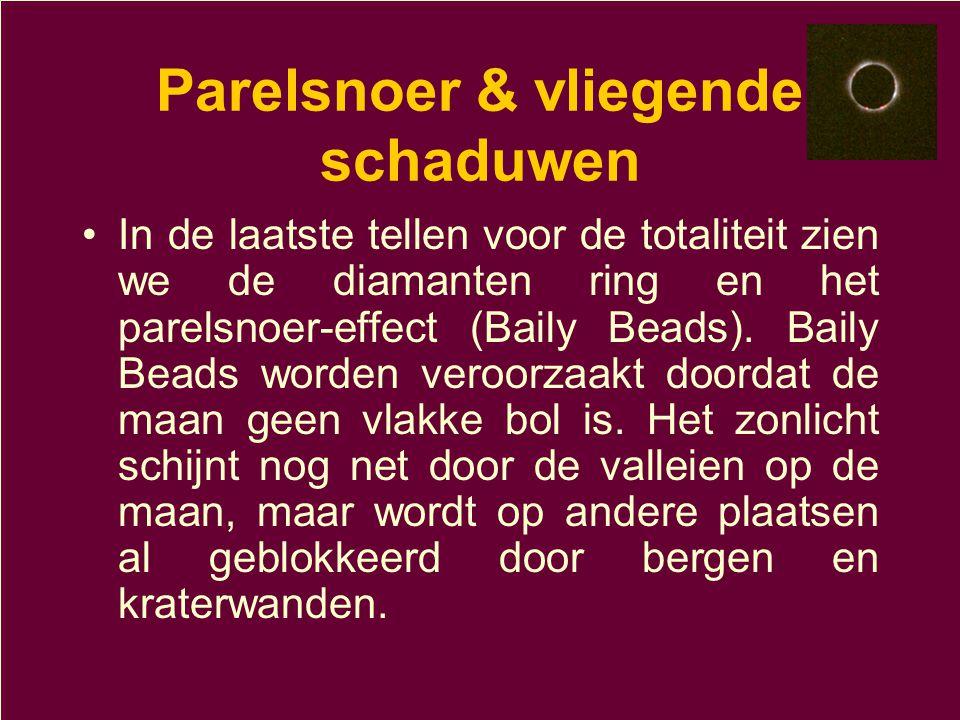 Parelsnoer & vliegende schaduwen •In de laatste tellen voor de totaliteit zien we de diamanten ring en het parelsnoer-effect (Baily Beads). Baily Bead
