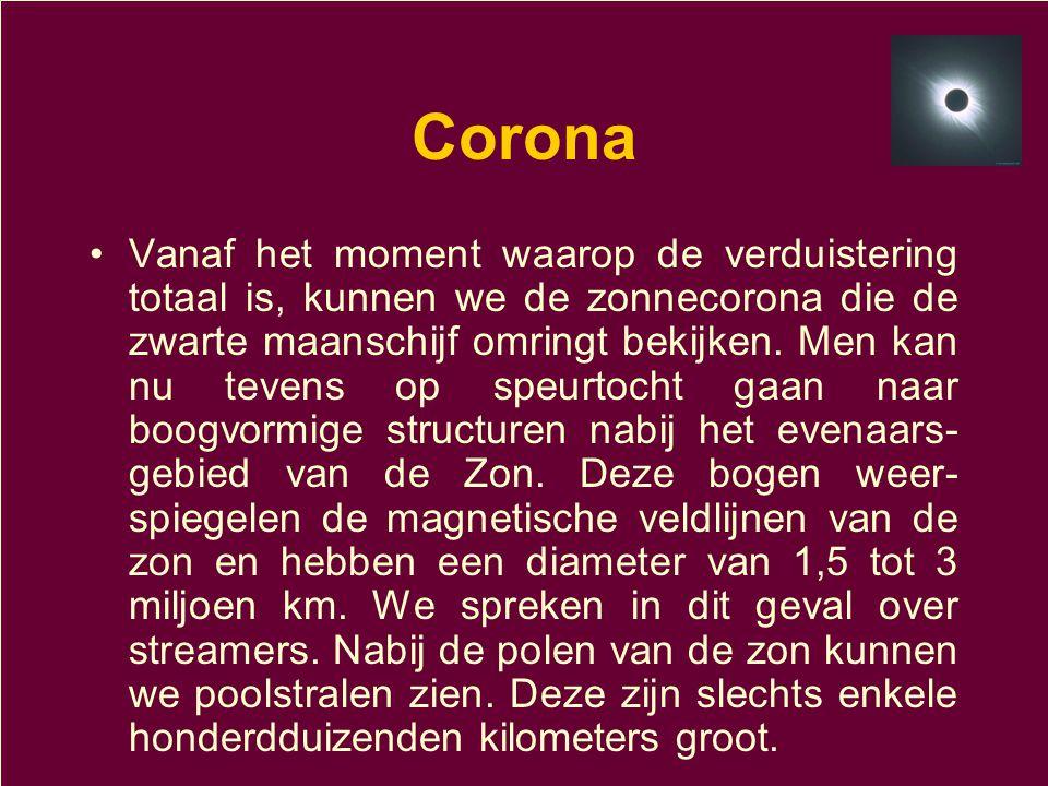 Corona •Vanaf het moment waarop de verduistering totaal is, kunnen we de zonnecorona die de zwarte maanschijf omringt bekijken. Men kan nu tevens op s