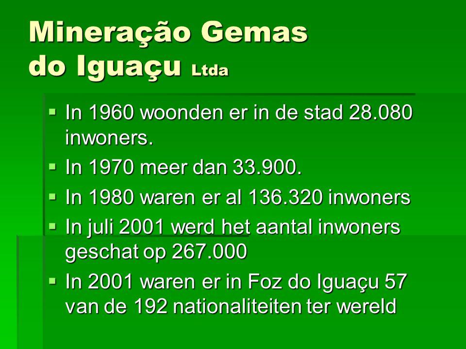 Mineração Gemas do Iguaçu Ltda MMMMineração Gemas do Iguaçu bouwt op de oever van de Paraná rivier een gemmologisch centrum DDDDit centrum zal een mineralen- en edelstenenmuseum bevatten alsook een school voor gemmologie, een onderzoekslaboratorium en certificatenbureau.