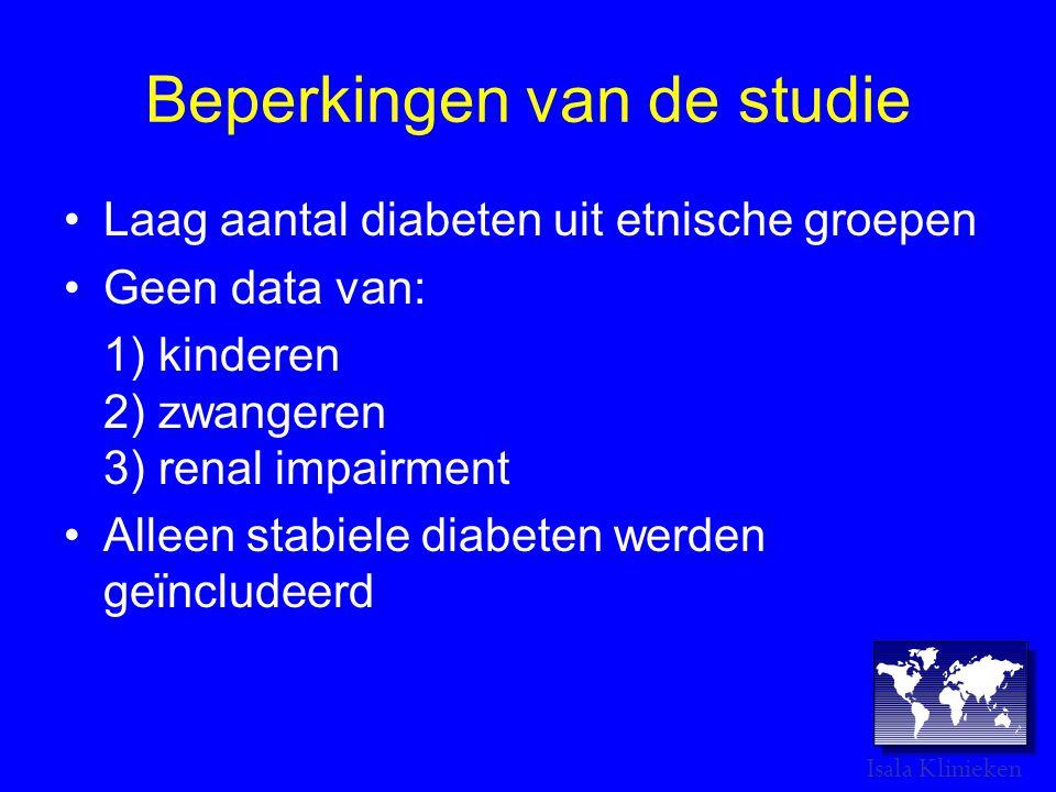 Beperkingen van de studie •Laag aantal diabeten uit etnische groepen •Geen data van: 1) kinderen 2) zwangeren 3) renal impairment •Alleen stabiele diabeten werden geϊncludeerd Isala Klinieken