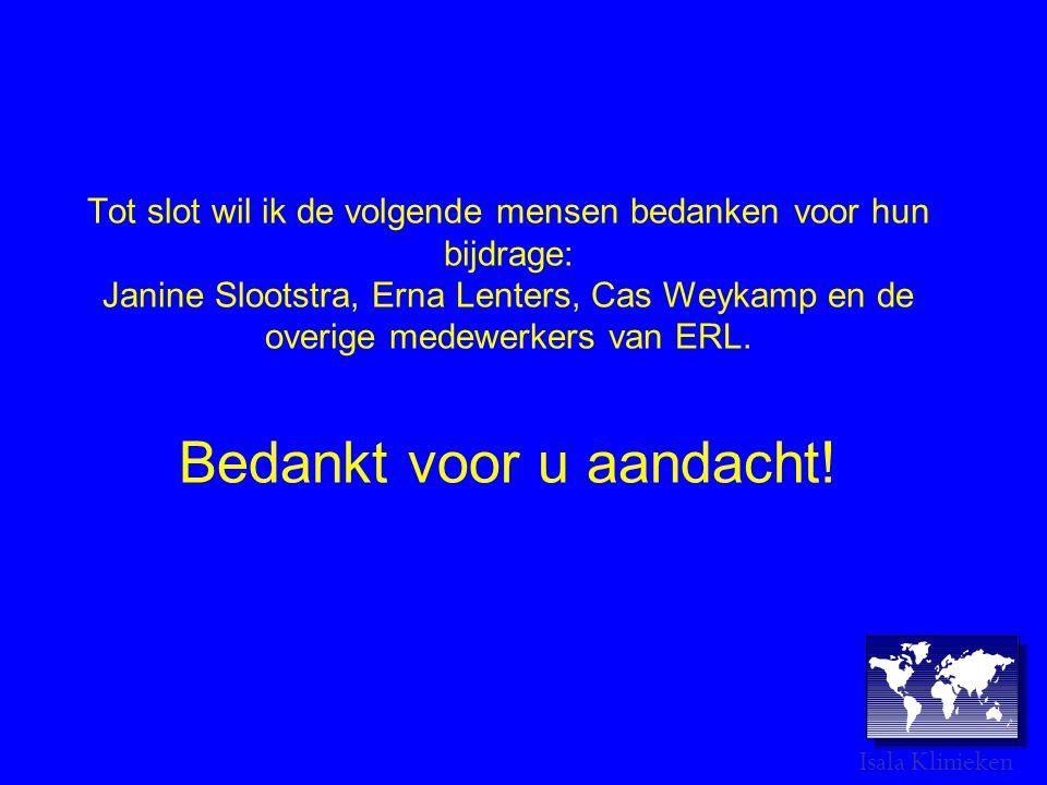 Tot slot wil ik de volgende mensen bedanken voor hun bijdrage: Janine Slootstra, Erna Lenters, Cas Weykamp en de overige medewerkers van ERL.