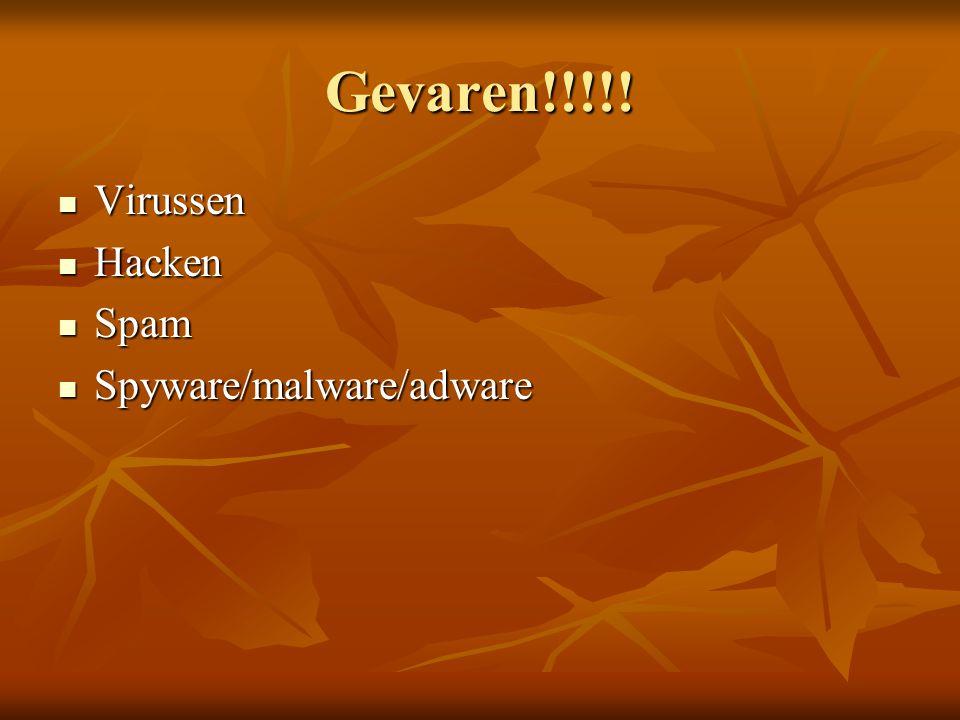 Gevaren!!!!!  Virussen  Hacken  Spam  Spyware/malware/adware