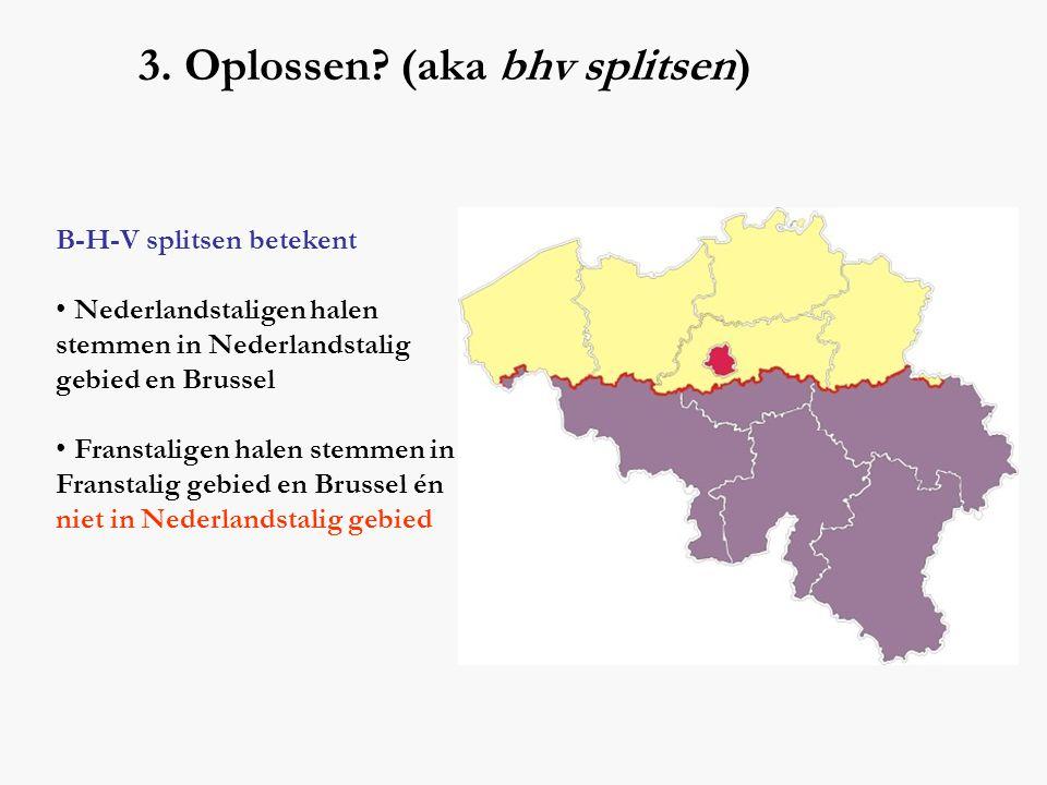 3. Oplossen? (aka bhv splitsen) B-H-V splitsen betekent • Nederlandstaligen halen stemmen in Nederlandstalig gebied en Brussel • Franstaligen halen st