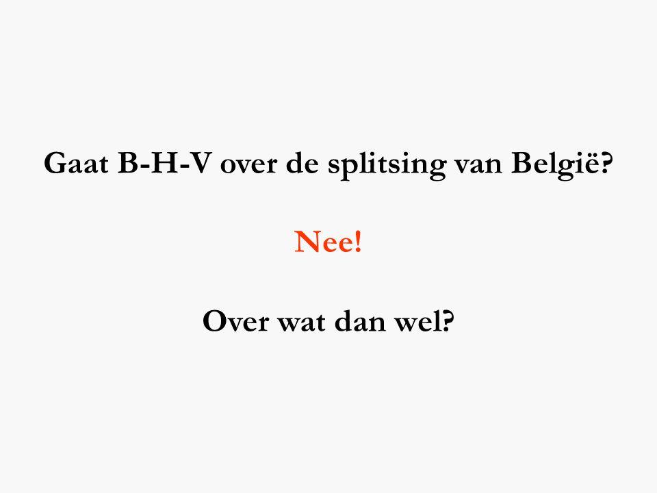 Gaat B-H-V over de splitsing van België? Nee! Over wat dan wel?