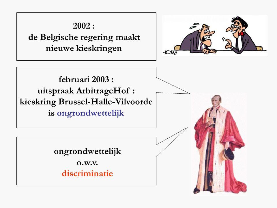 2002 : de Belgische regering maakt nieuwe kieskringen februari 2003 : uitspraak ArbitrageHof : kieskring Brussel-Halle-Vilvoorde is ongrondwettelijk o