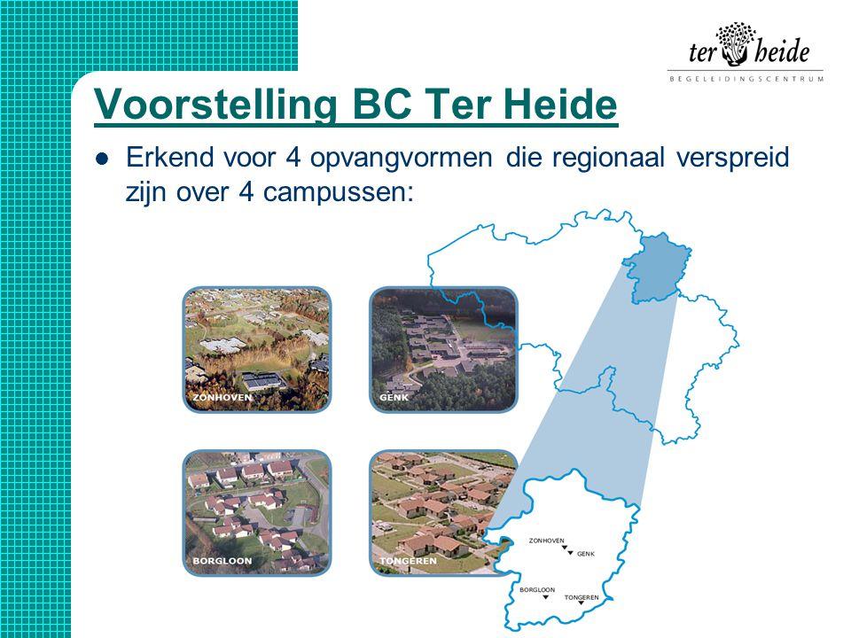 Voorstelling BC Ter Heide  Erkend voor 4 opvangvormen die regionaal verspreid zijn over 4 campussen: