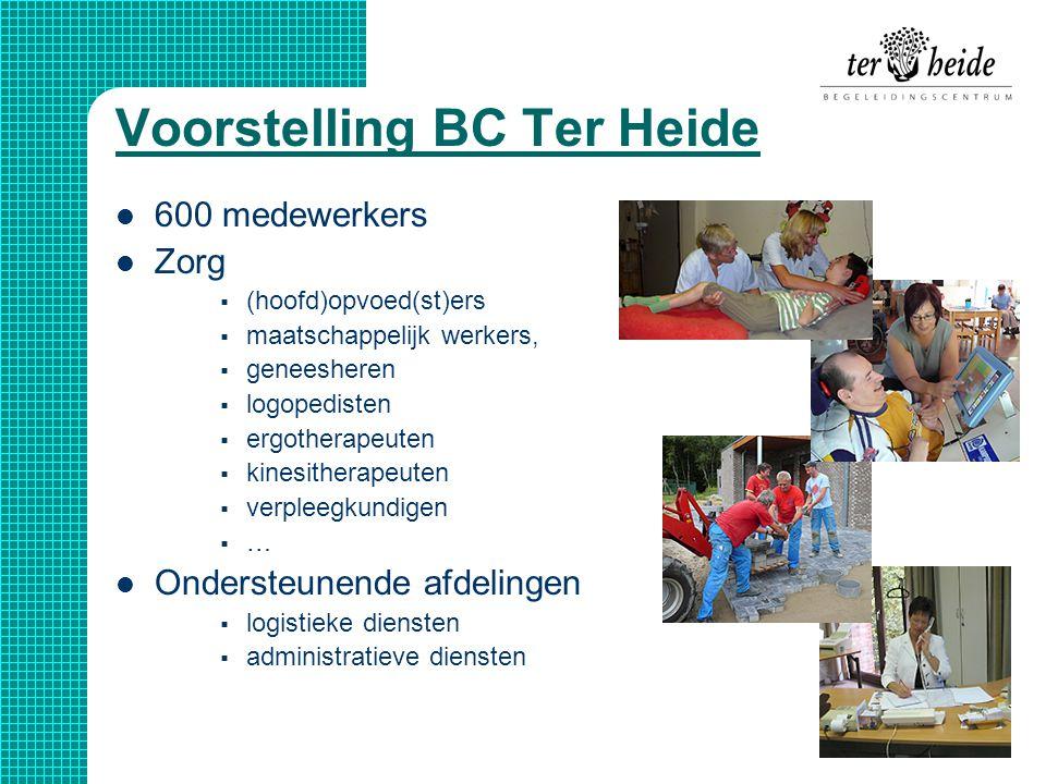 Voorstelling BC Ter Heide  600 medewerkers  Zorg  (hoofd)opvoed(st)ers  maatschappelijk werkers,  geneesheren  logopedisten  ergotherapeuten 