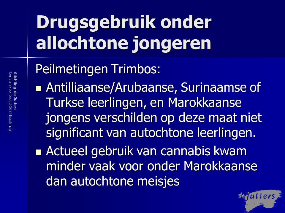 Stichting de JuttersCentrum voor Jeugd-GGZ Haaglanden Drugsgebruik onder allochtone jongeren Andere metingen  Bijv.