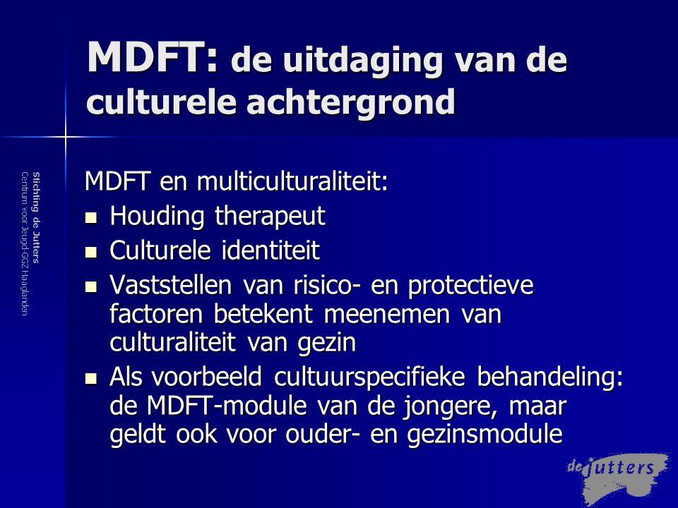 Stichting de JuttersCentrum voor Jeugd-GGZ Haaglanden MDFT: de uitdaging van multiculturaliteit Een MDFT-uitgangspunt: De therapeut zijn verantwoordelijkheid wordt benadrukt.
