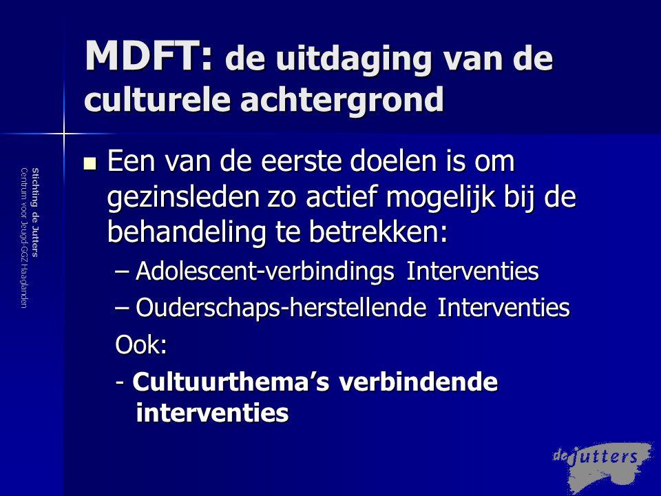Stichting de JuttersCentrum voor Jeugd-GGZ Haaglanden MDFT: de uitdaging van de culturele achtergrond In de eerste fase van MDFT middels a.v.i.'s en c.v.i.'s toegang tot leefwereld van jongere krijgen door:  Muziek (en film) Muziek is een therapeutisch onderwerp, dat een belangrijke invloed vormt (denk aan de rap), dat een raam naar het leven van de jongere vormt, waar we zijn waarden, opvattingen, doelen tegenkomen