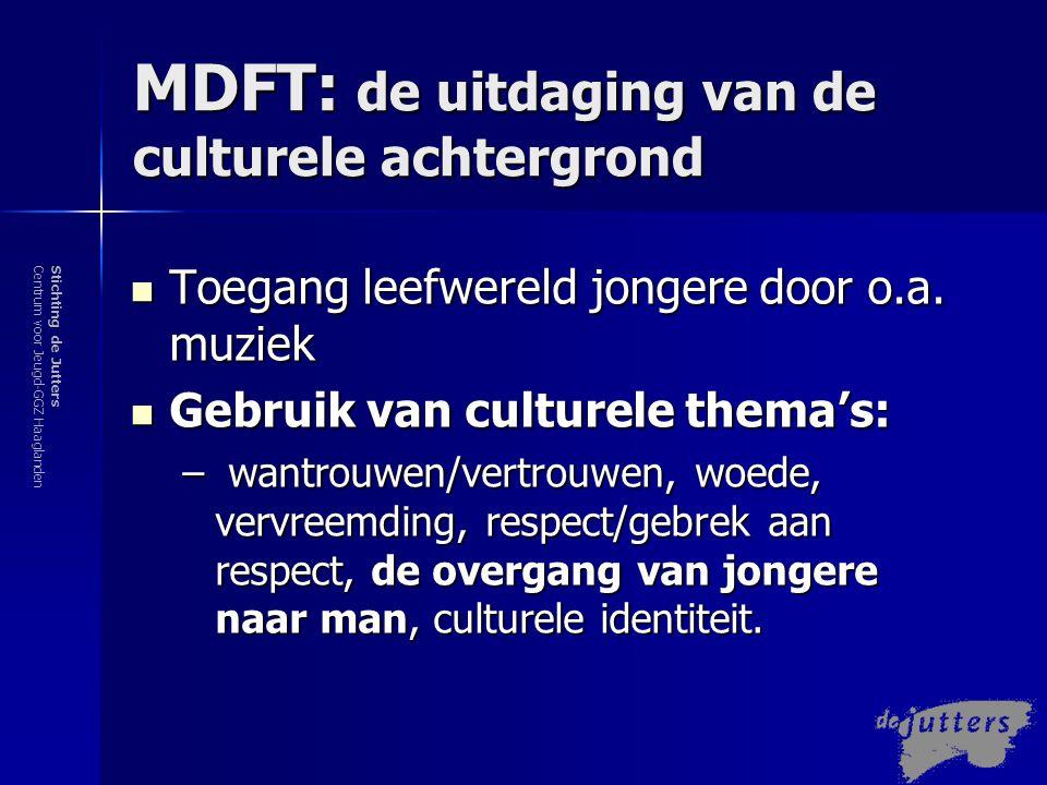 Stichting de JuttersCentrum voor Jeugd-GGZ Haaglanden MDFT en gebruik van culturele thema's De overgang/reis van jongen naar man  Wat is nodig om een bijv.