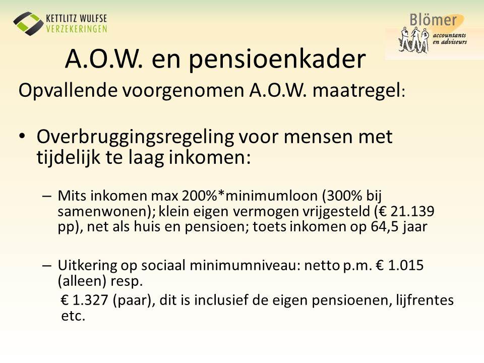 A.O.W. en pensioenkader Opvallende voorgenomen A.O.W. maatregel : • Overbruggingsregeling voor mensen met tijdelijk te laag inkomen: – Mits inkomen ma