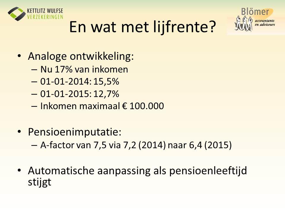 En wat met lijfrente? • Analoge ontwikkeling: – Nu 17% van inkomen – 01-01-2014: 15,5% – 01-01-2015: 12,7% – Inkomen maximaal € 100.000 • Pensioenimpu