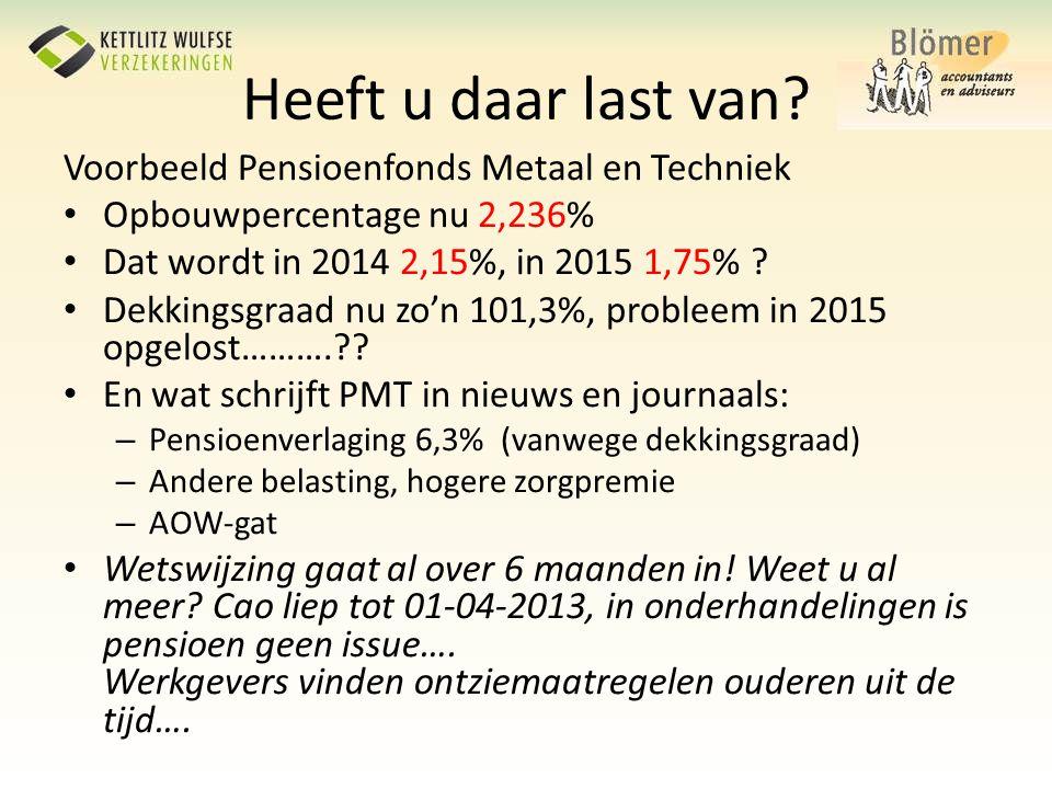 Heeft u daar last van? Voorbeeld Pensioenfonds Metaal en Techniek • Opbouwpercentage nu 2,236% • Dat wordt in 2014 2,15%, in 2015 1,75% ? • Dekkingsgr