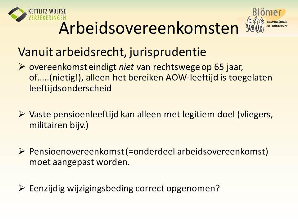 Vanuit arbeidsrecht, jurisprudentie  overeenkomst eindigt niet van rechtswege op 65 jaar, of…..(nietig!), alleen het bereiken AOW-leeftijd is toegela