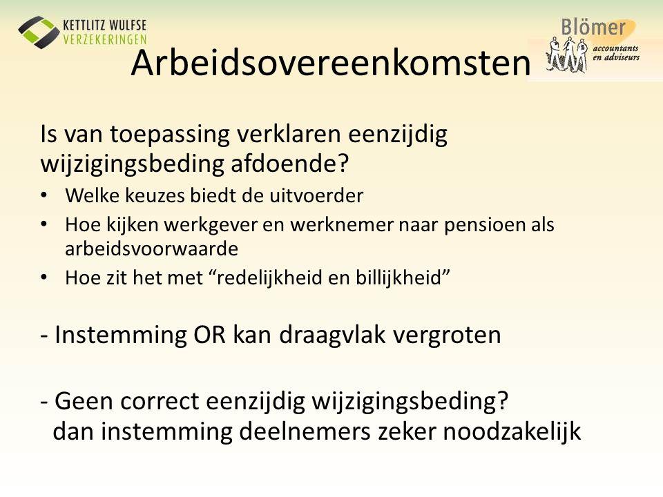 Arbeidsovereenkomsten Is van toepassing verklaren eenzijdig wijzigingsbeding afdoende? • Welke keuzes biedt de uitvoerder • Hoe kijken werkgever en we