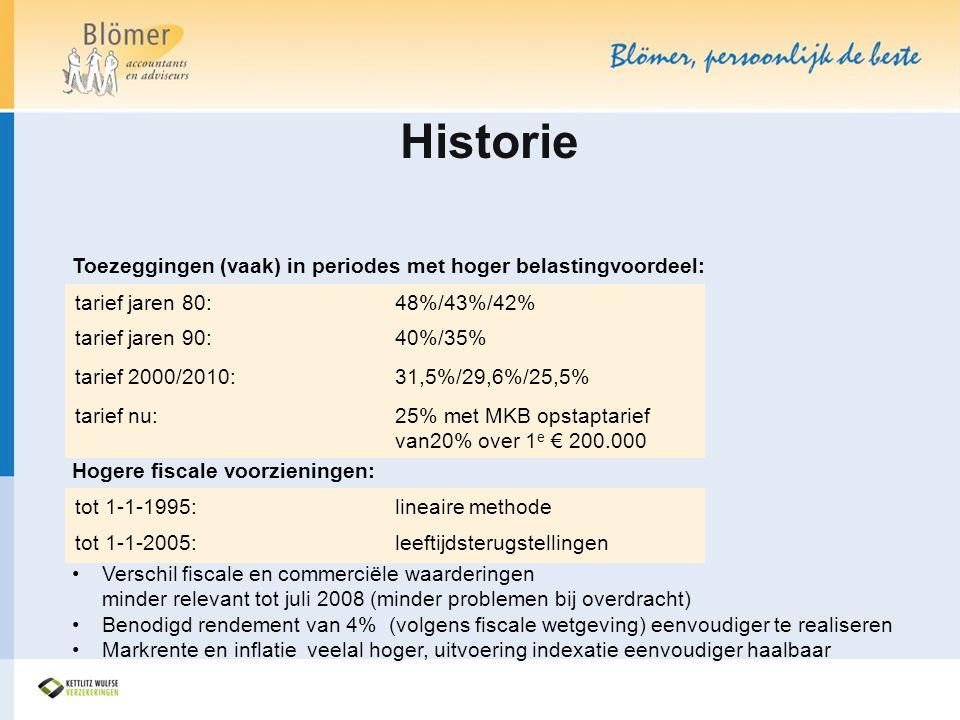Historie Toezeggingen (vaak) in periodes met hoger belastingvoordeel: Hogere fiscale voorzieningen: •Verschil fiscale en commerciële waarderingen mind