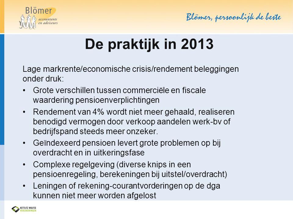 De praktijk in 2013 Lage markrente/economische crisis/rendement beleggingen onder druk: •Grote verschillen tussen commerciële en fiscale waardering pe